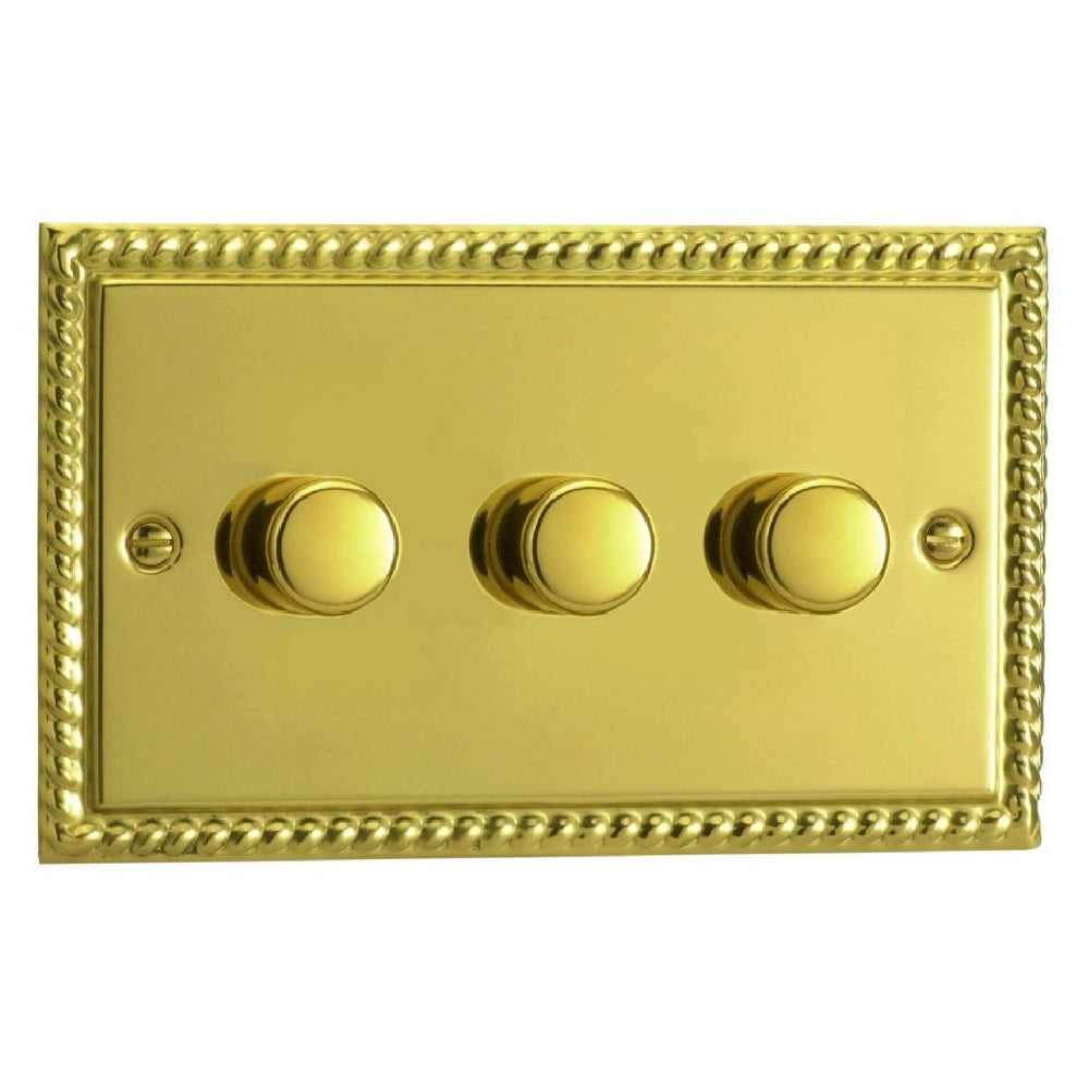 Varilight JGDP303 | Georgian Brass Classic Dimmer Switch