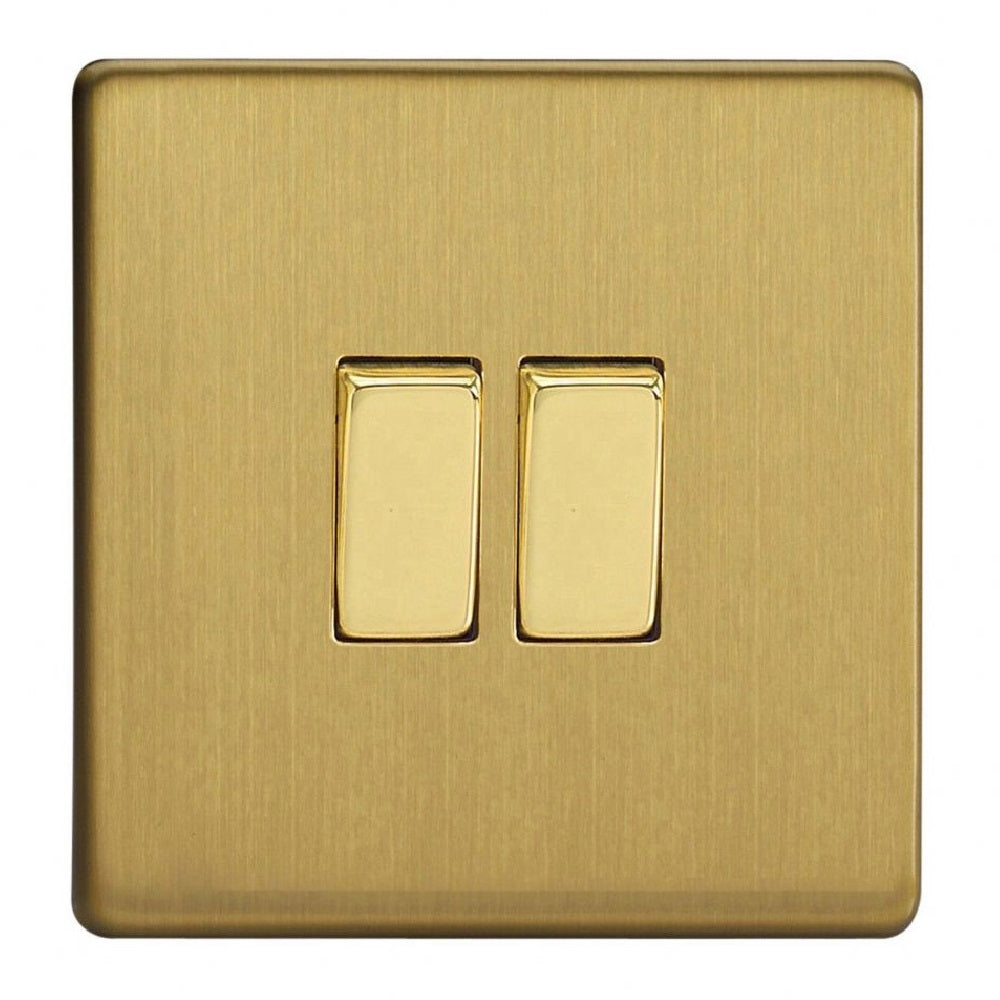 Varilight XDB2S | Brushed Brass Screwless Rocker Switch
