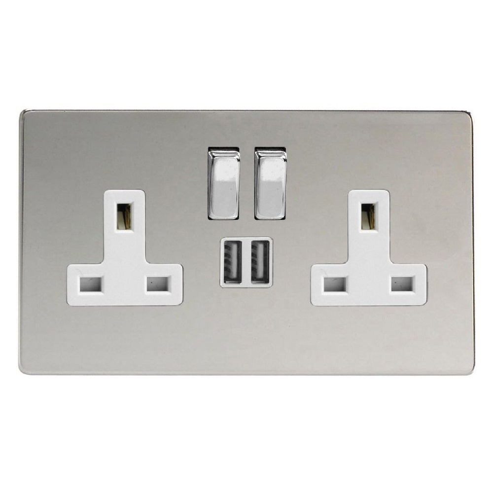 Varilight XDC5U2SWS | Polished Chrome Screwless Switched USB Socket