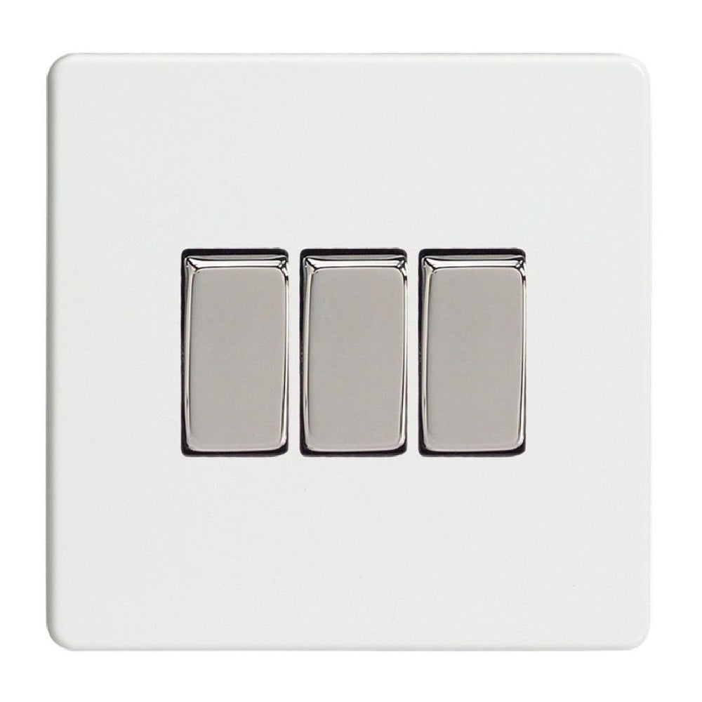 Varilight XDQ3S | Premium White Screwless Rocker Switch