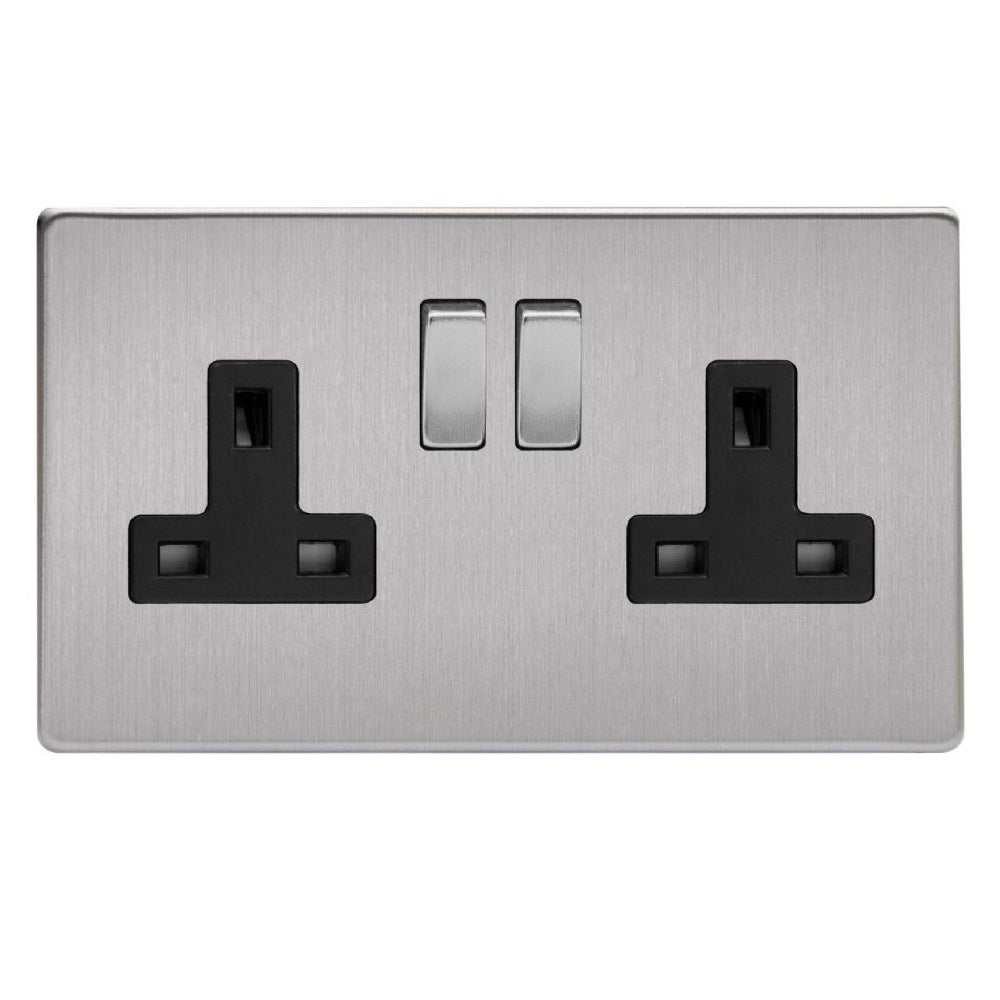 Varilight XDS5BS | Brushed Steel Screwless Double Pole Socket