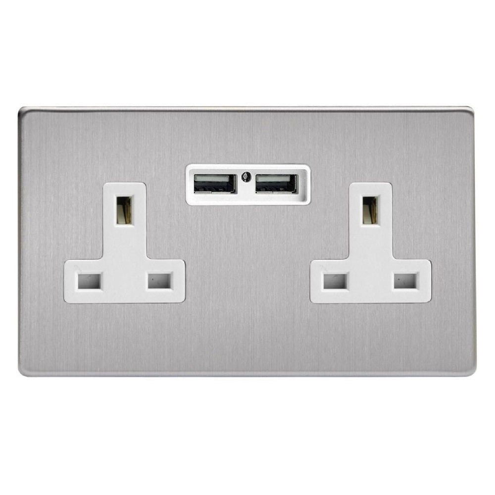 Varilight XDS5U2WS | Brushed Steel Screwless Unswitched USB Socket