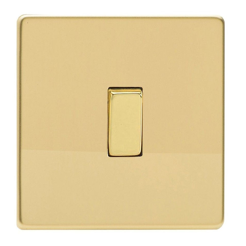 Varilight XDV1S | Polished Brass Screwless Rocker Switch