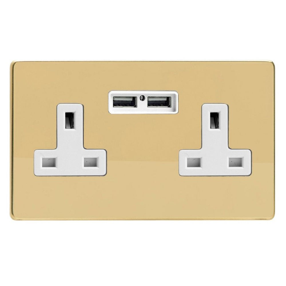 Varilight XDV5U2WS | Polished Brass Screwless Unswitched USB Socket