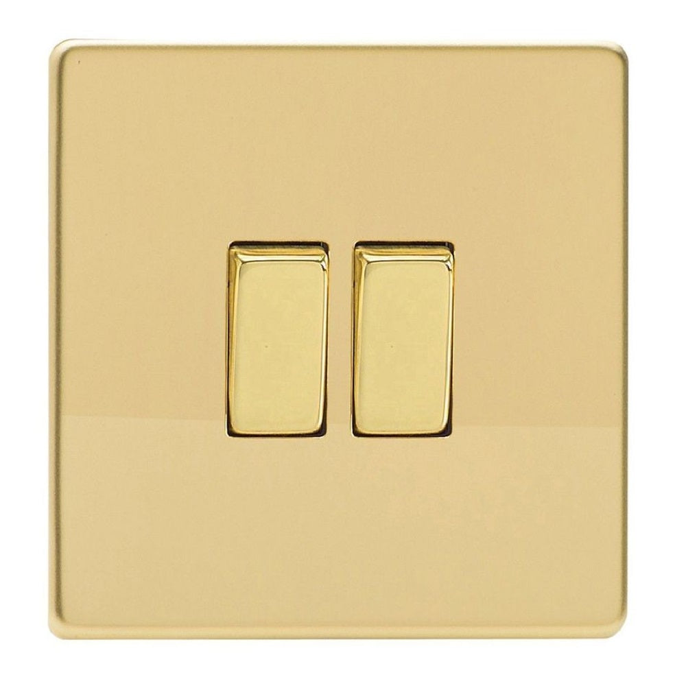 Varilight XDV77S | Polished Brass Screwless Intermediate Switch