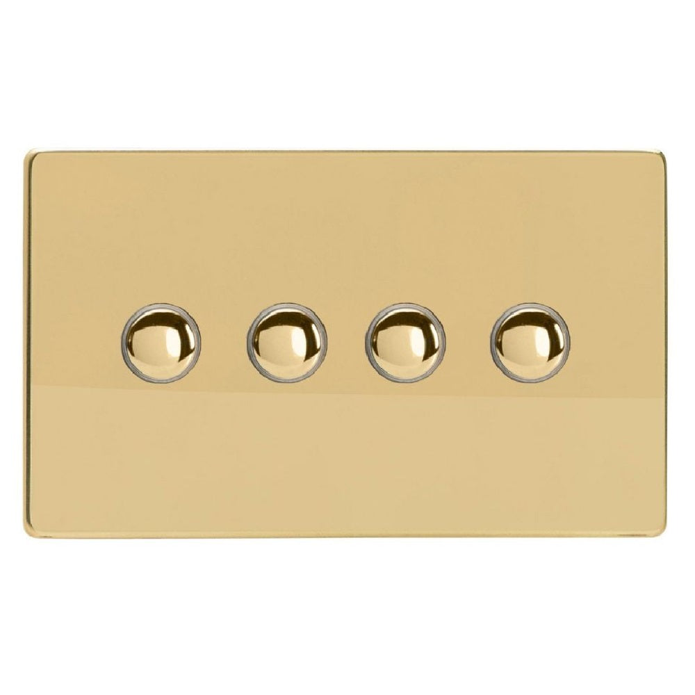 Varilight XDVM4S | Polished Brass Screwless Momentary Switch