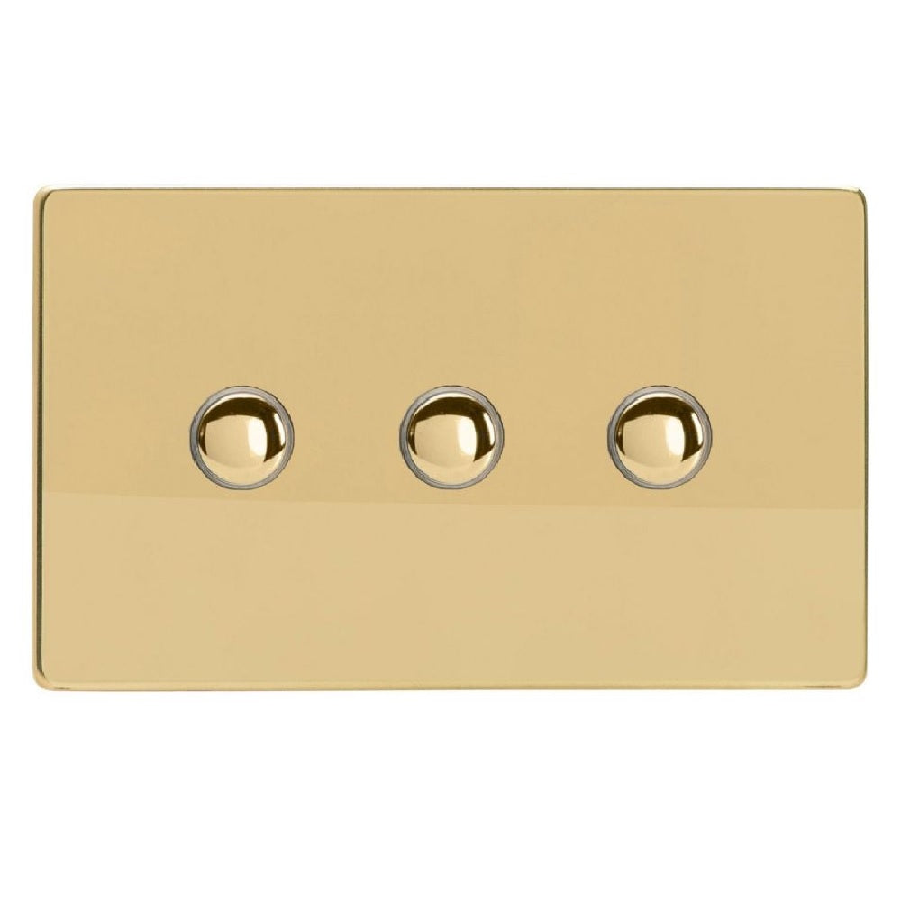 Varilight XDVP3S | Polished Brass Screwless Impulse Switch