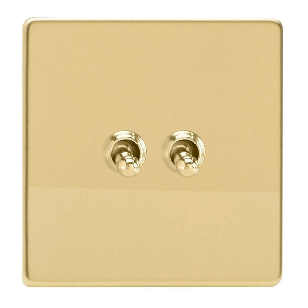 Varilight XDVT2S | Polished Brass Screwless Toggle Switch