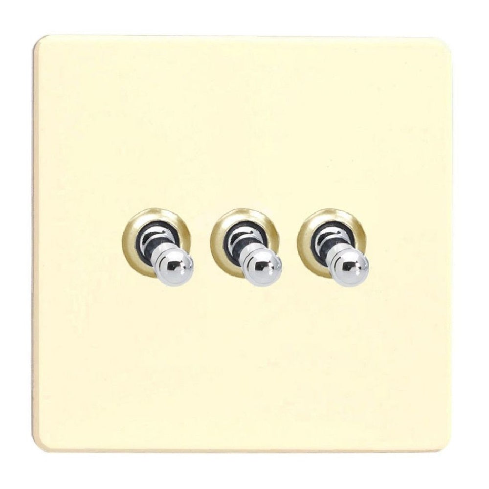 Varilight XDWT3S | White Chocolate Screwless Toggle Switch