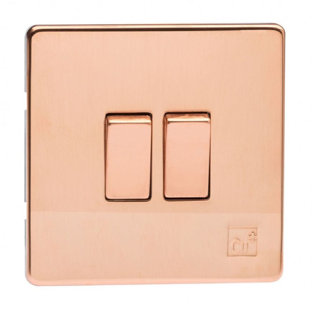 Varilight XDY2S.AC | Antimicrobial Copper Screwless Rocker Switch | XDY2SAC