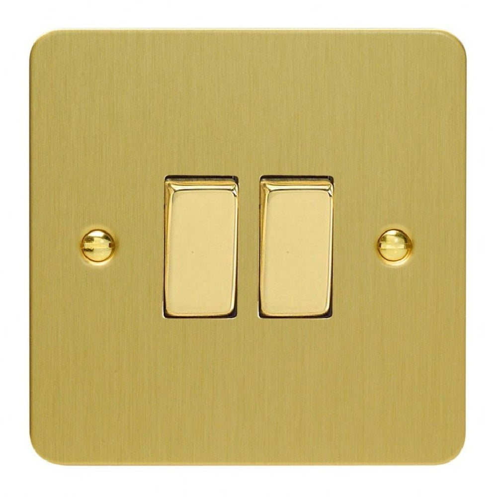 Varilight XFB2D | Brushed Brass Ultraflat Rocker Switch
