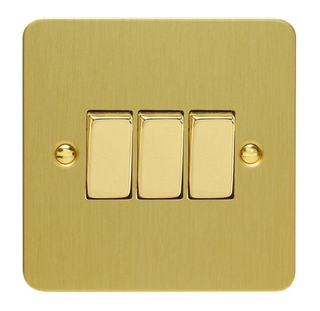 Varilight XFB3D | Brushed Brass Ultraflat Rocker Switch