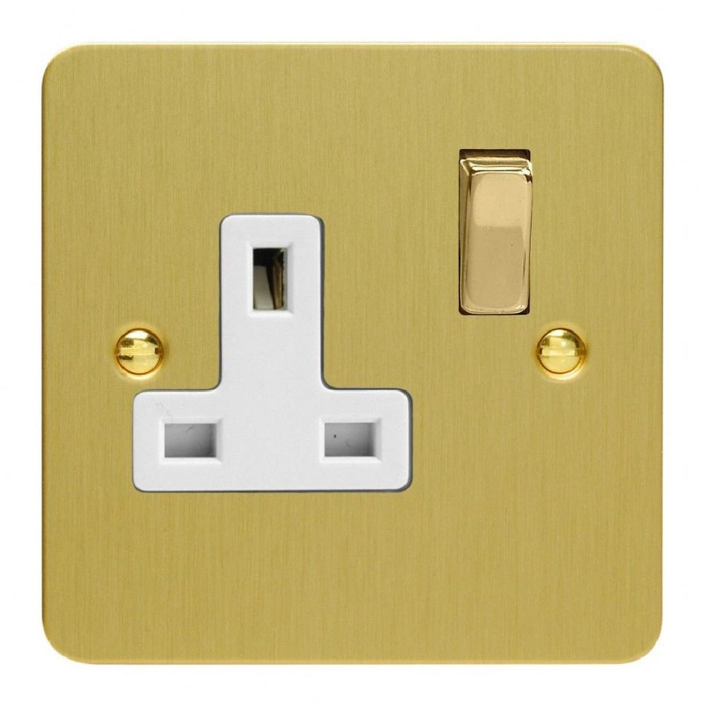 Varilight XFB4DW | Brushed Brass Ultraflat Double Pole Socket
