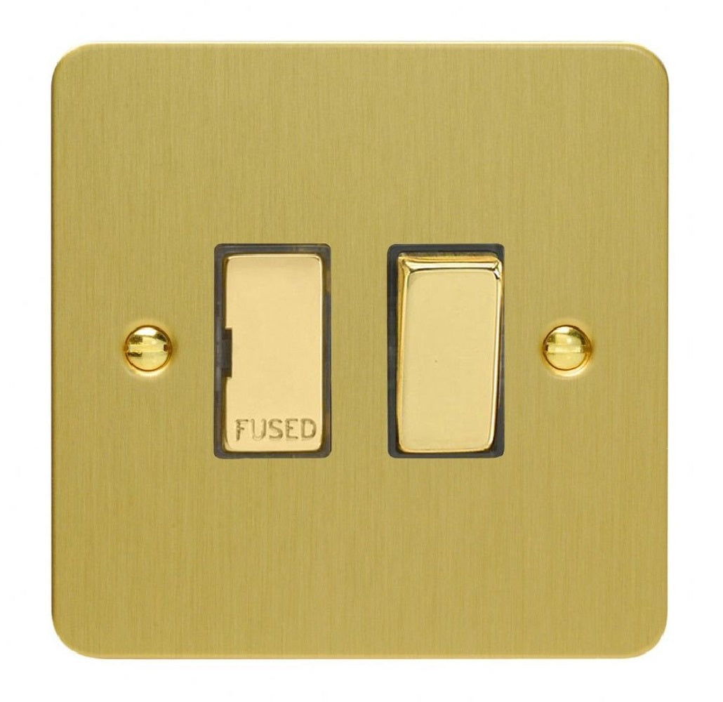 Varilight XFB6D | Brushed Brass Ultraflat Switched Fused Spur