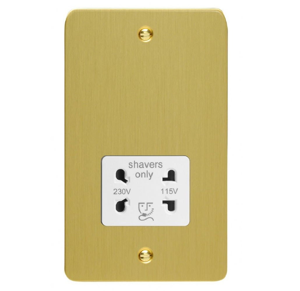 Varilight XFBSSW | Brushed Brass Ultraflat Shaver Socket