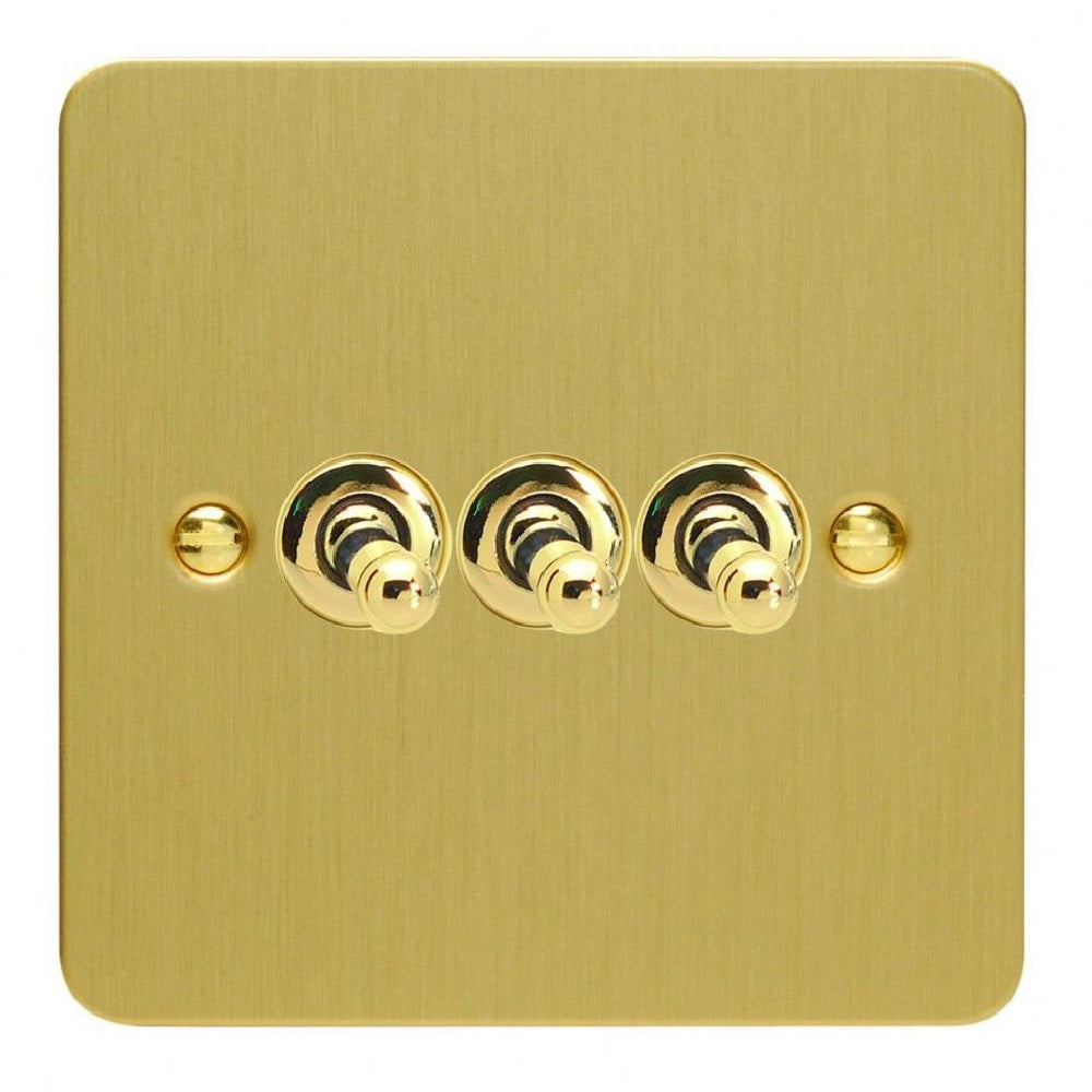 Varilight XFBT3 | Brushed Brass Ultraflat Toggle Switch