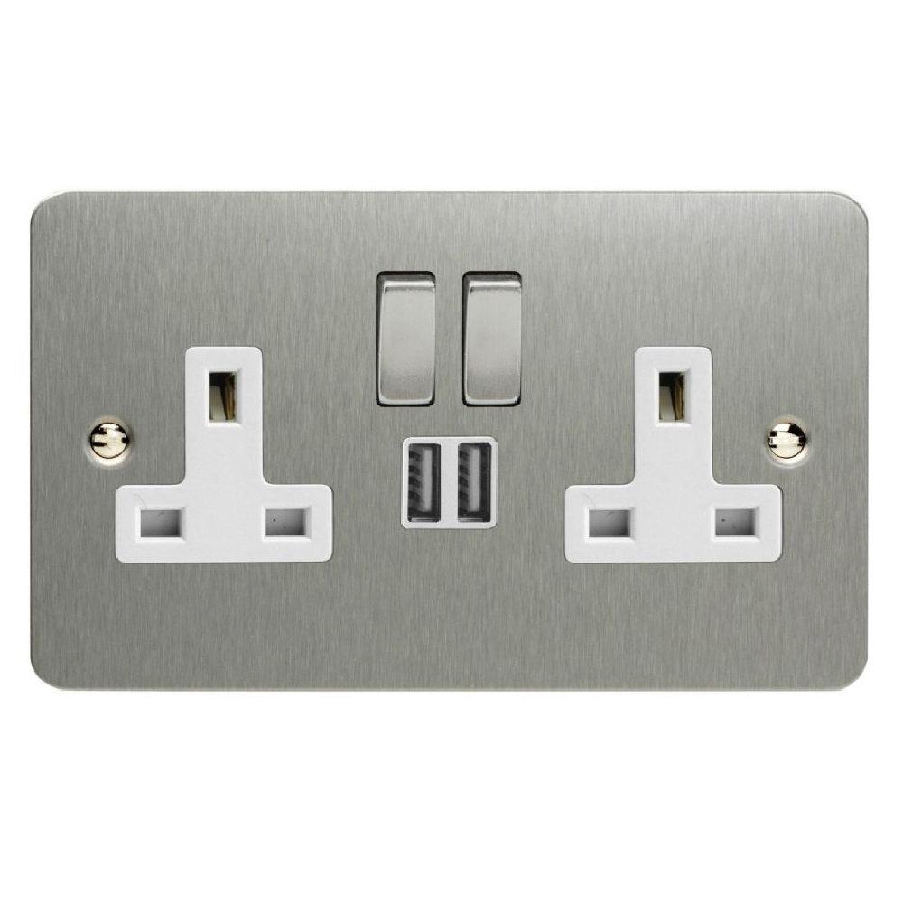 Varilight XFS5U2SDW | Brushed Steel Ultraflat Switched USB Socket