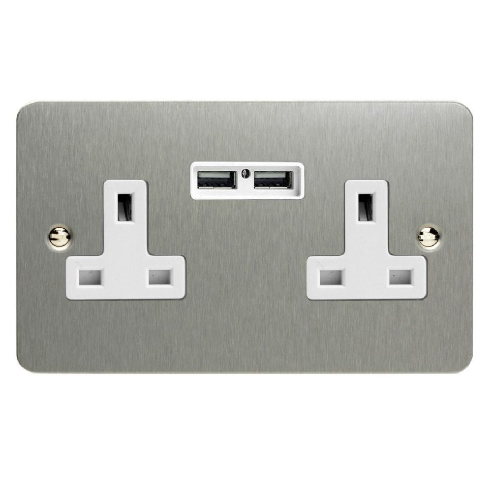 Varilight XFS5U2W | Brushed Steel Ultraflat Unswitched USB Socket