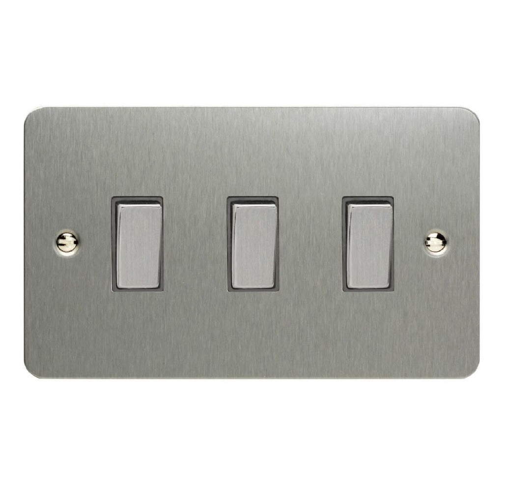 Varilight XFS93D | Brushed Steel Ultraflat Rocker Switch
