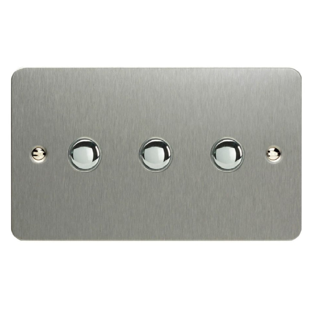 Varilight XFSP3 | Brushed Steel Ultraflat Impulse Switch