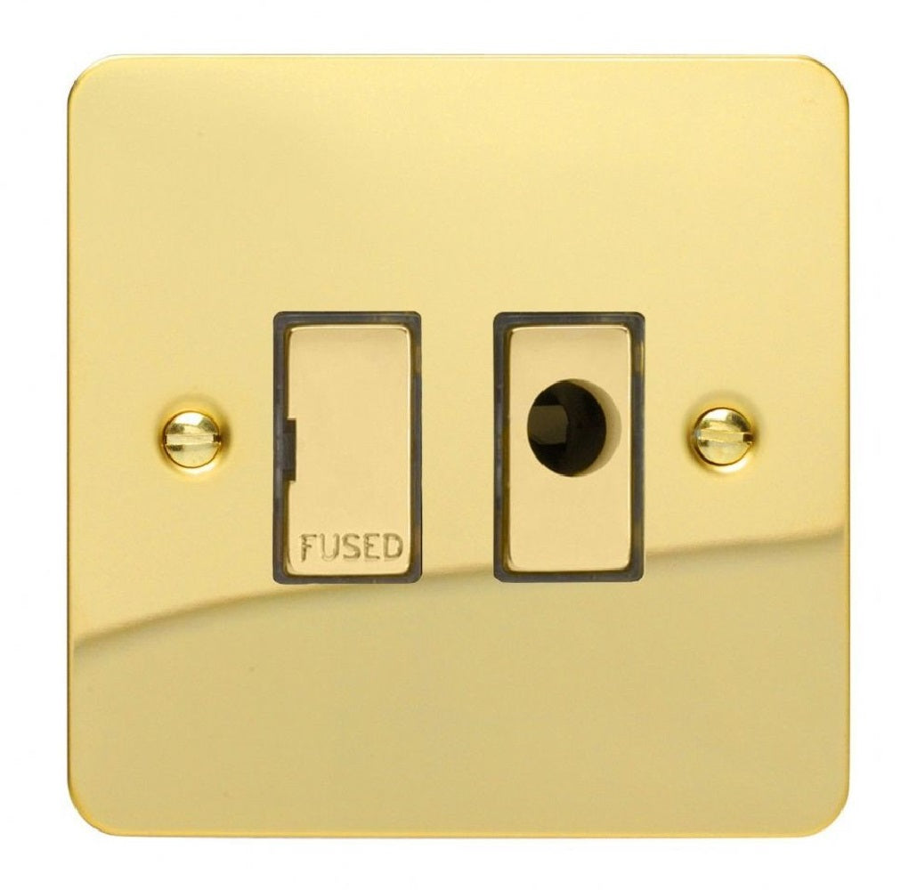 Varilight XFV6UFOD | Polished Brass Ultraflat Unswitched Fused Spur