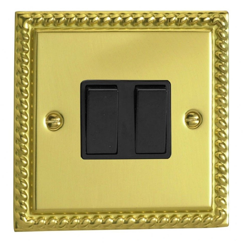 Varilight XG2B | Georgian Brass Classic Rocker Switch