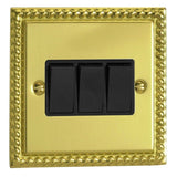 Varilight XG3B | Georgian Brass Classic Rocker Switch