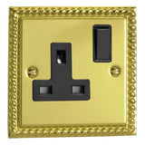 Varilight XG4B | Georgian Brass Classic Double Pole Socket