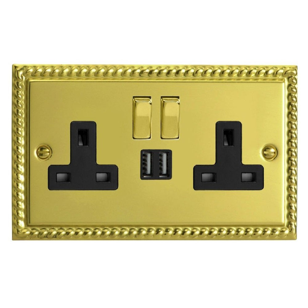 Varilight XG5U2SDB | Georgian Brass Classic Switched USB Socket