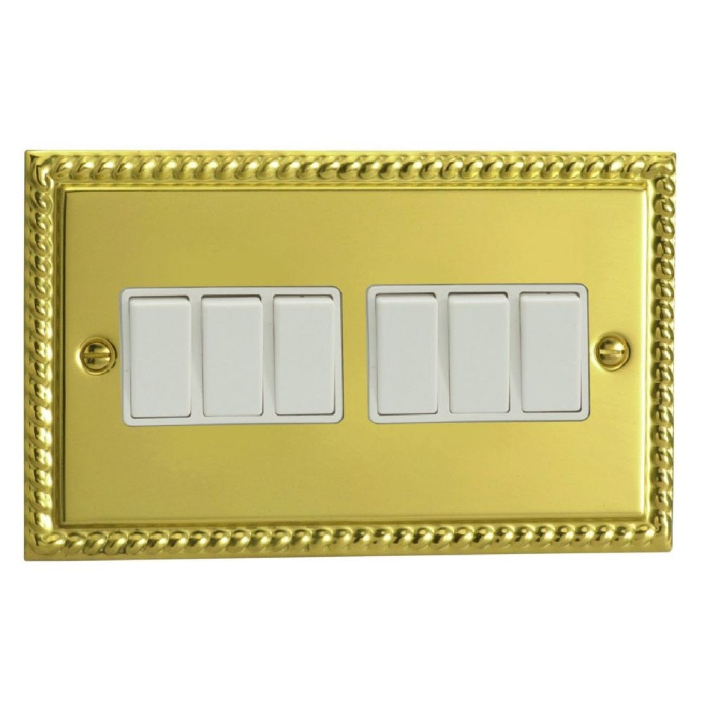 Varilight XG96W | Georgian Brass Classic Rocker Switch
