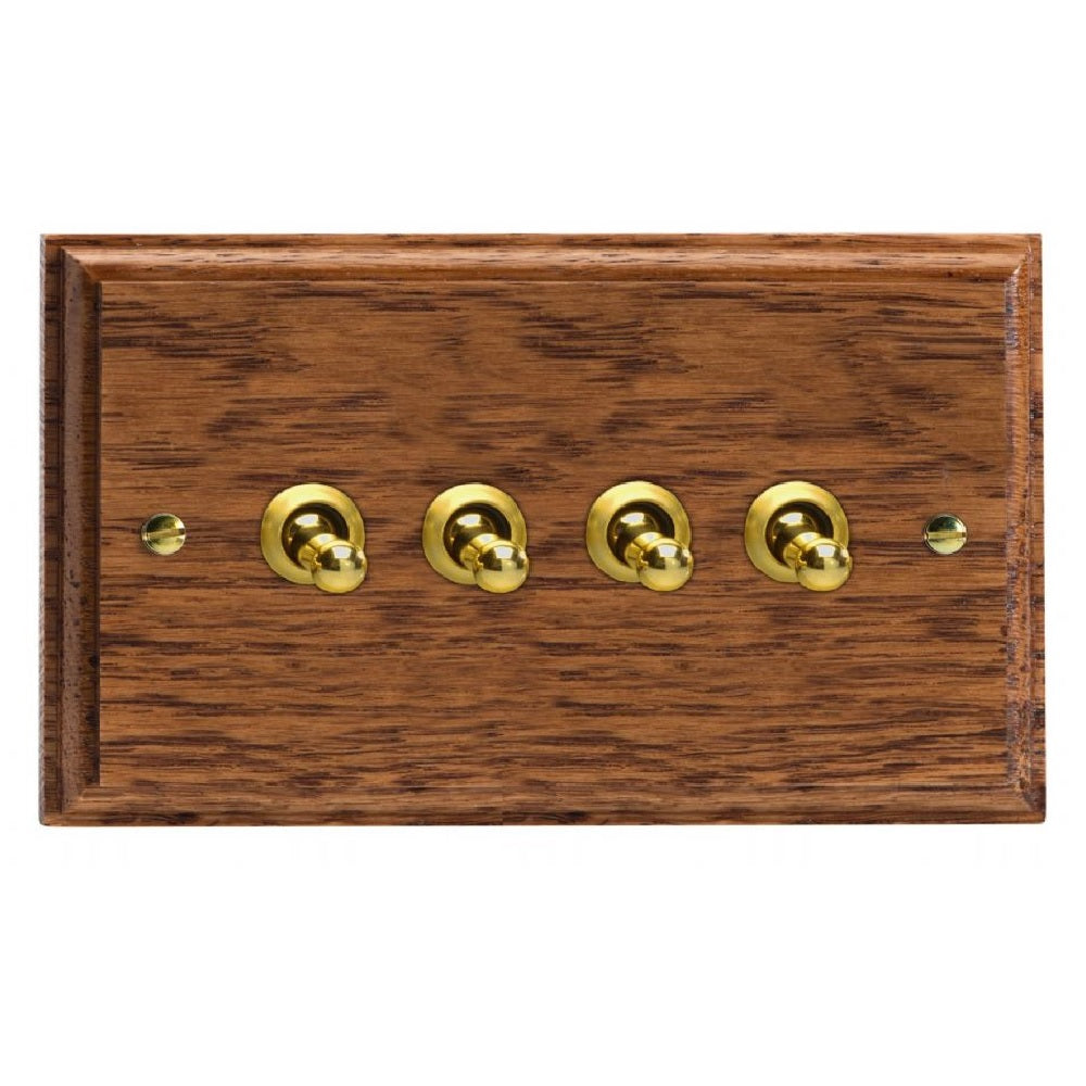 Varilight XKT9MO | Medium Oak Kilnwood Toggle Switch