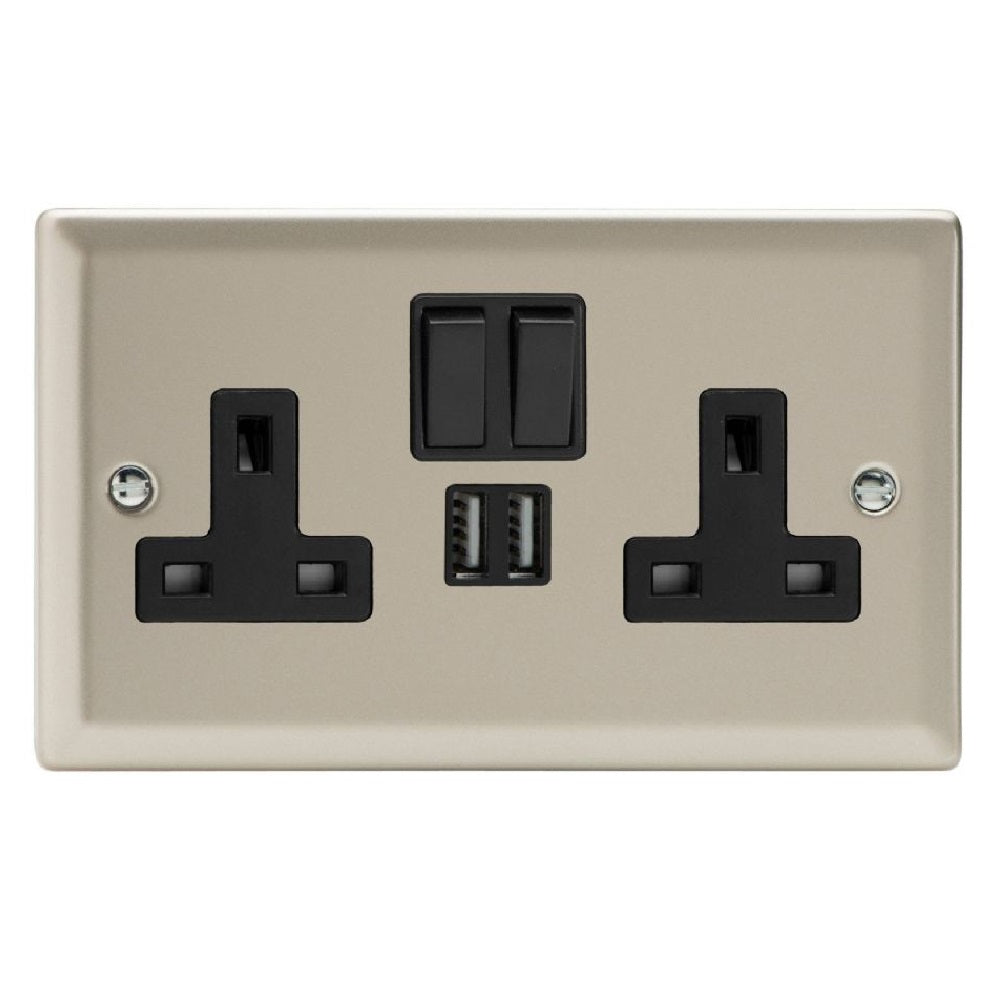 Varilight XN5U2SB | Satin Chrome Classic Switched USB Socket
