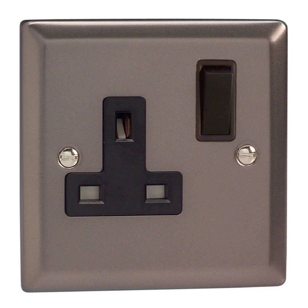 Varilight XR4B | Pewter Classic Double Pole Socket