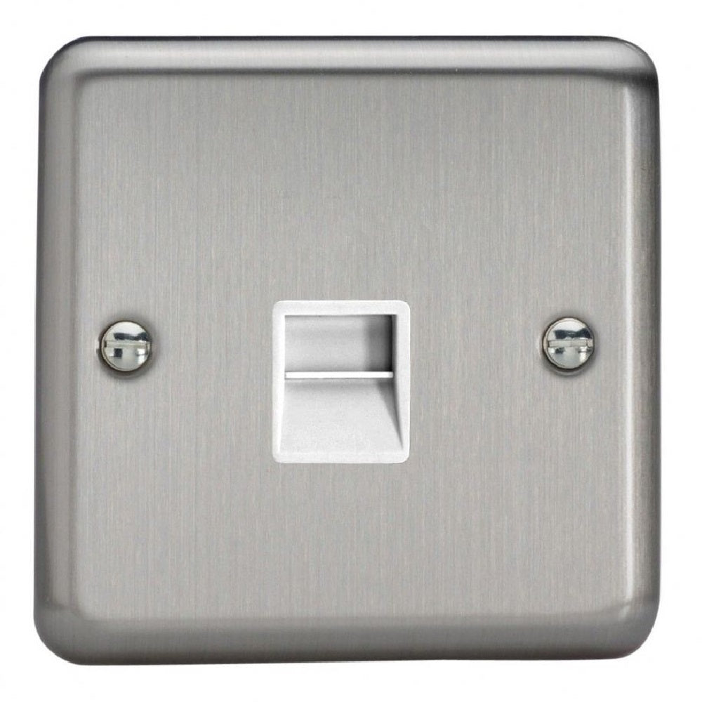 Varilight XSTMW | Matt Chrome Telephone Socket