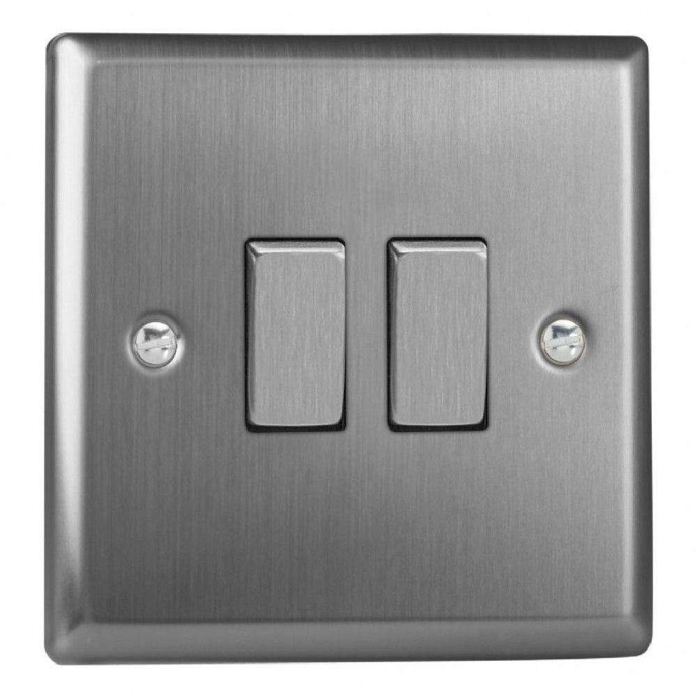 Varilight XT2D | Brushed Steel Classic Rocker Switch