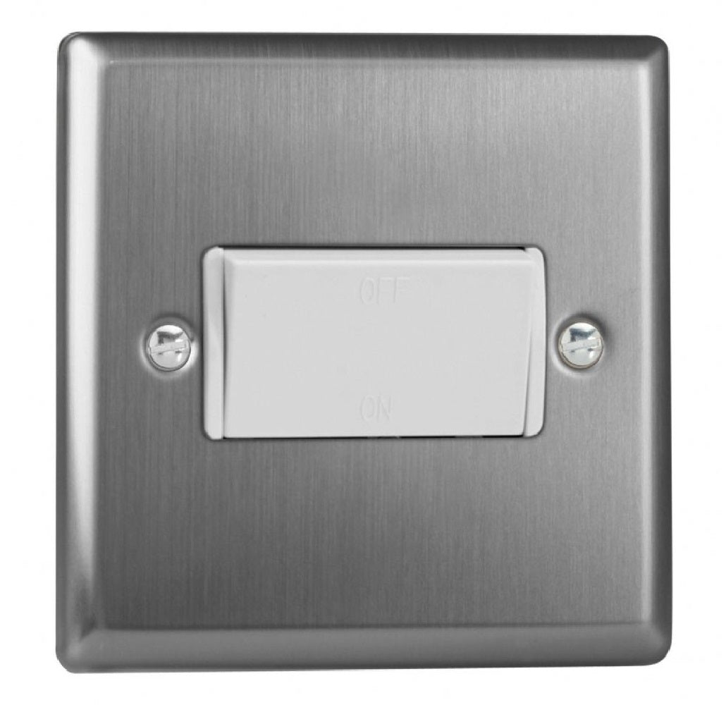 Varilight XTFIW | Brushed Steel Classic Fan Isolating Switch