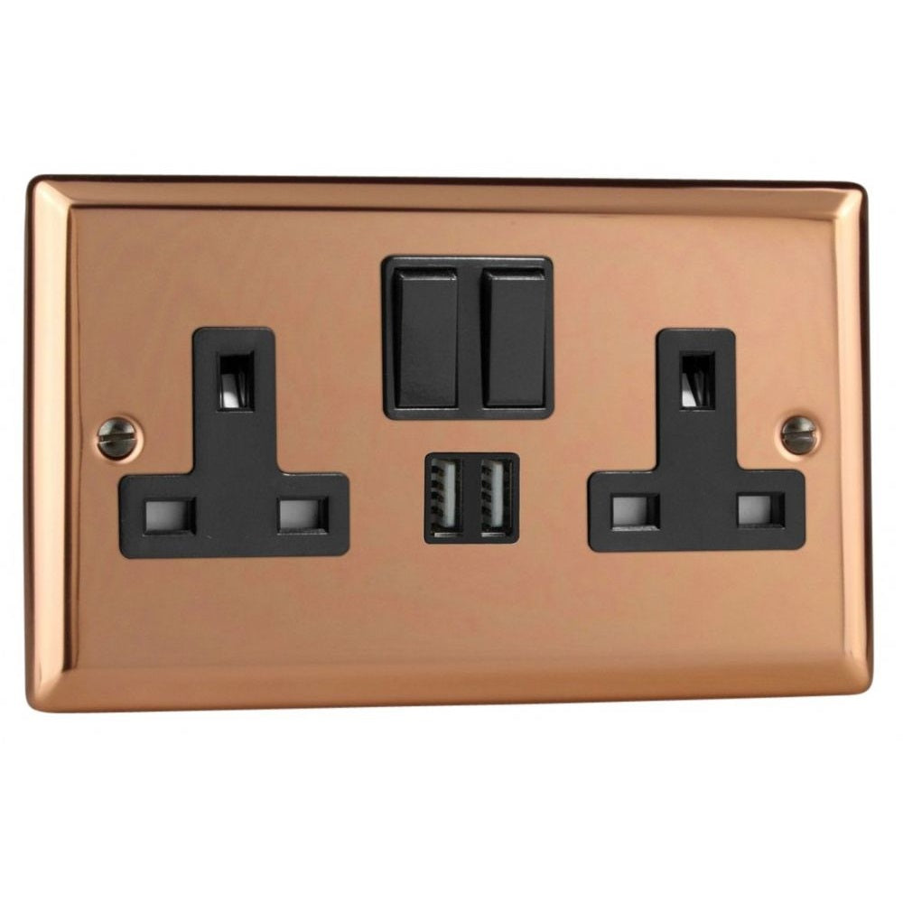 Varilight XY5U2SB.CU | Polished Copper Urban Switched USB Socket | XY5U2SBCU