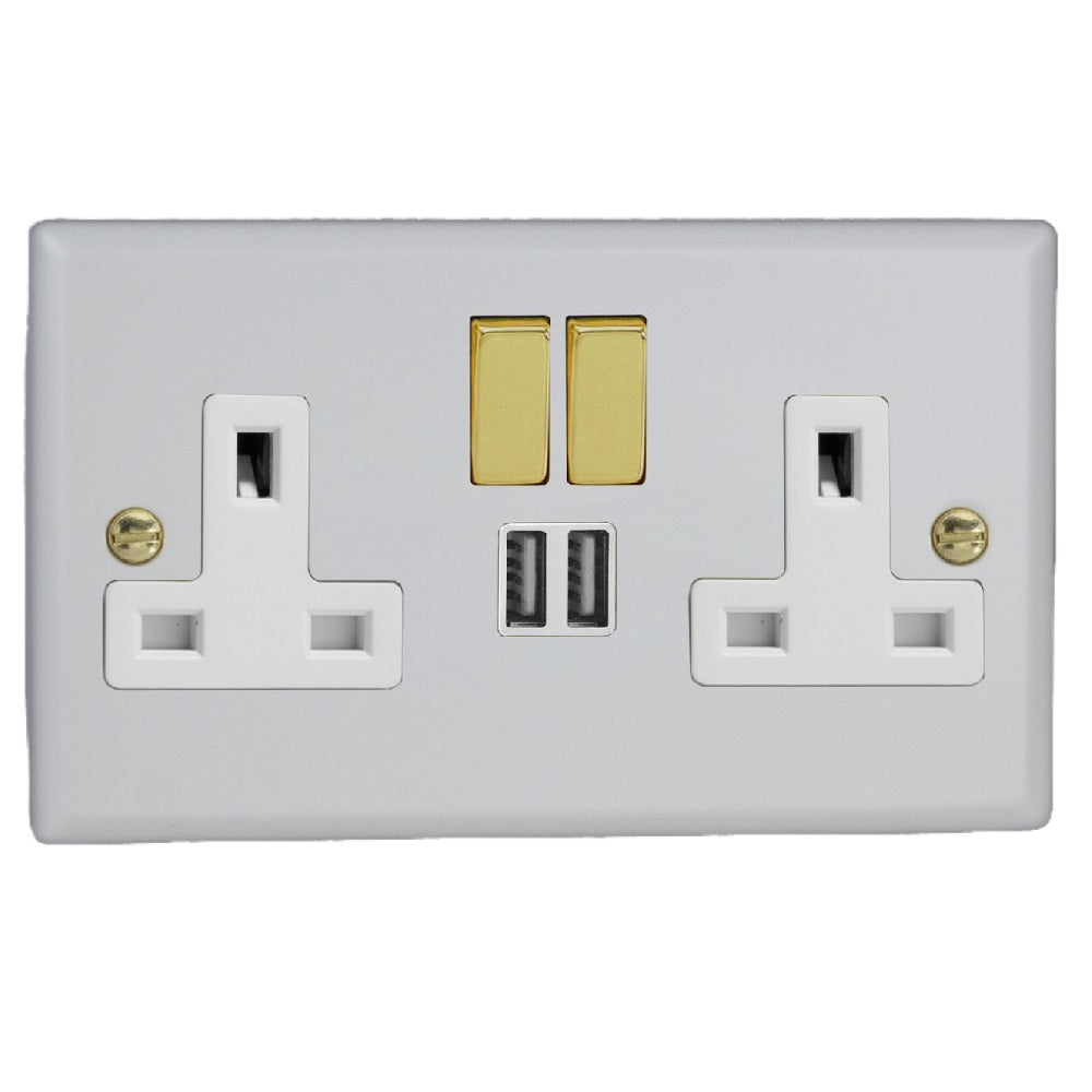 Varilight XY5U2SVW.MW | Matt White Vogue Switched USB Socket | XY5U2SVWMW