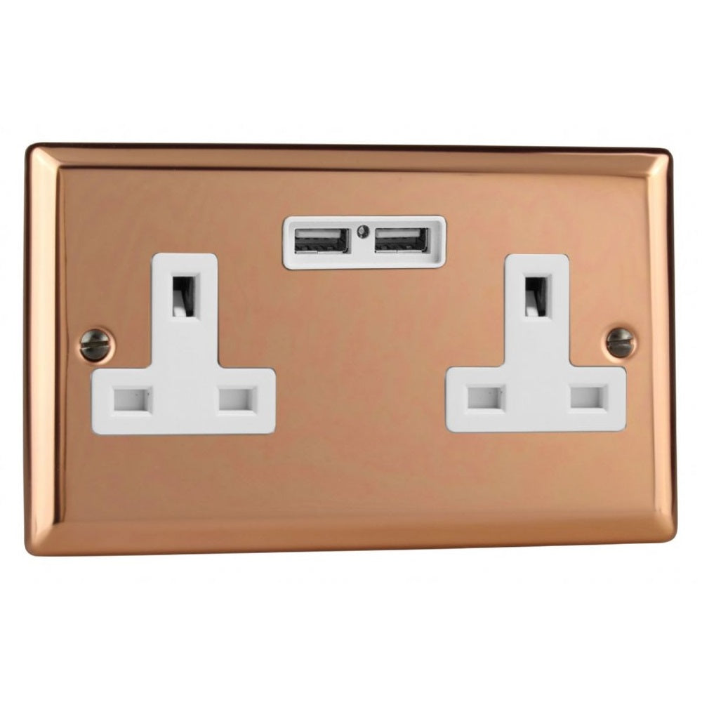 Varilight XY5U2W.CU | Polished Copper Urban Unswitched USB Socket | XY5U2WCU