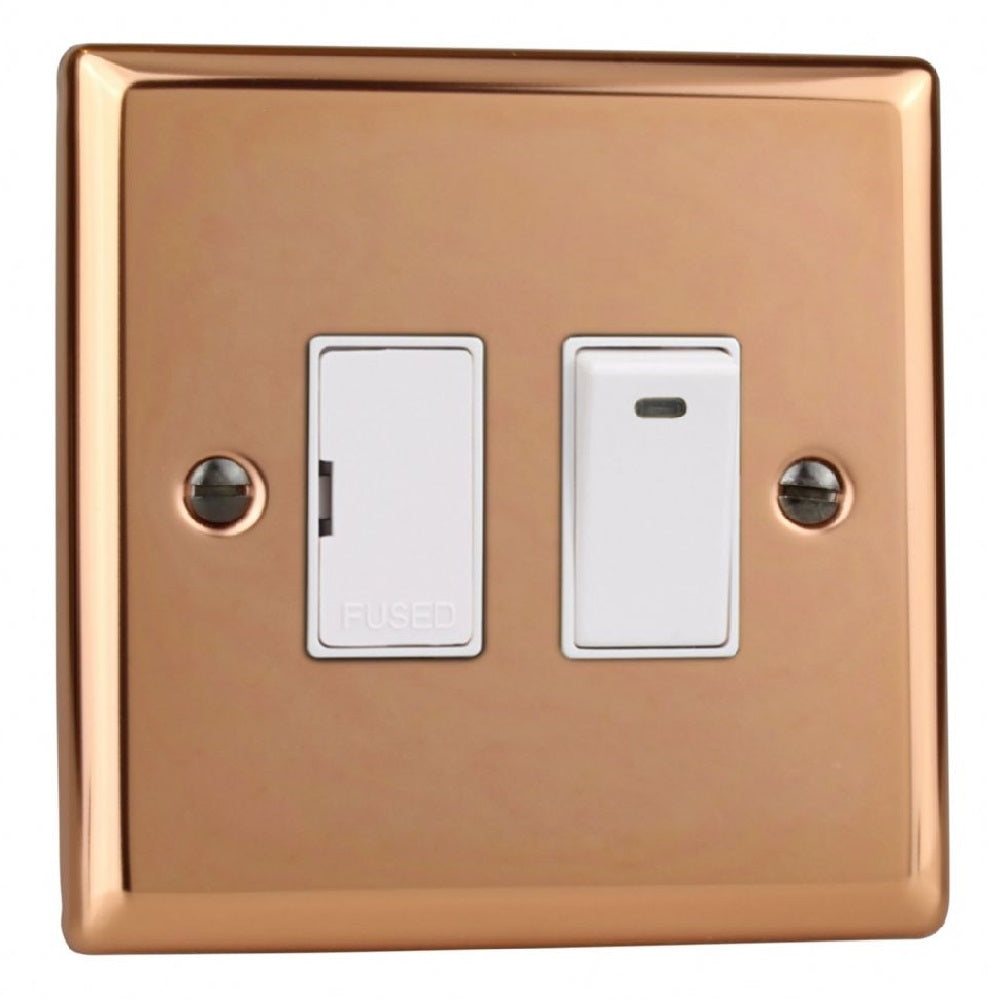 Varilight XY6NW.CU | Polished Copper Urban Switched Fused Spur | XY6NWCU