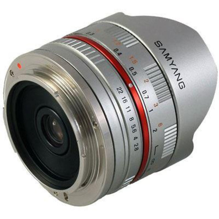 Samyang 8mm f2.8 Aspherical ED UMC Fisheye Lens - Silver - Fujifilm Fit