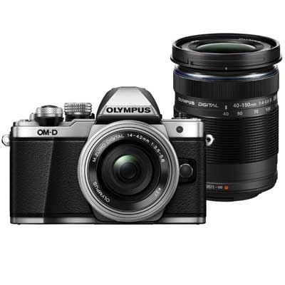 Olympus OM-D E-M10 Mark II Digital Camera with 14-42mm EZ Lens and 40-150mm Lens - Silver