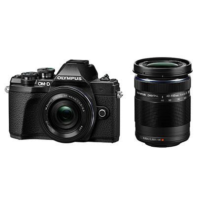 Olympus OM-D E-M10 Mark III Digital Camera with 14-42mm EZ Lens and 40-150mm R Lens - Black