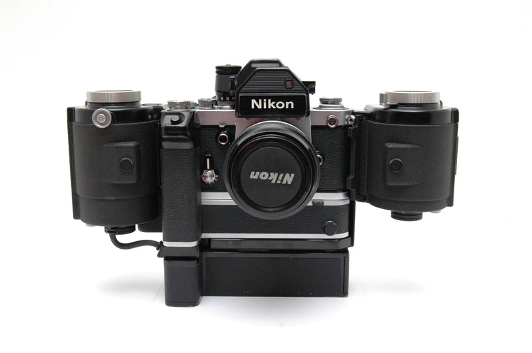 Used Nikon F2 with Micro Nikkor PC Auto 55mm f3.5, Nikon f250 motor drive  MF-1 and Nikon MB-1