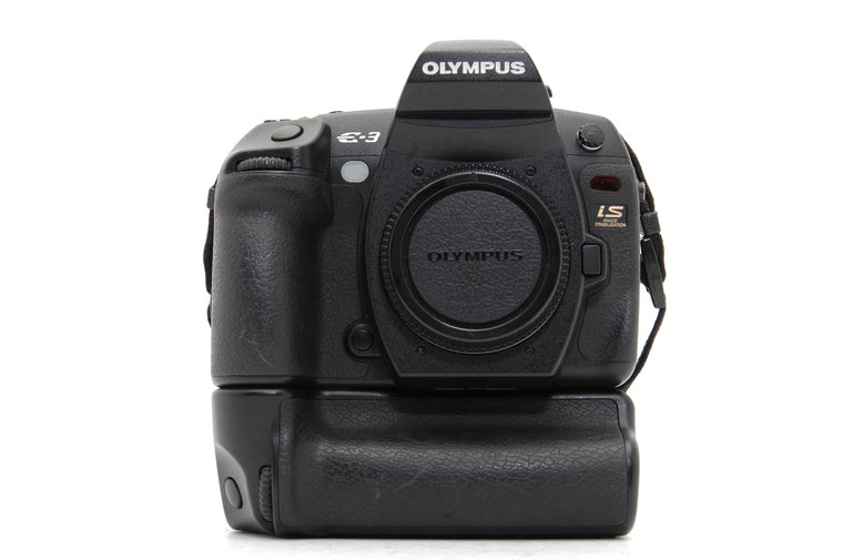 Used Olympus E-3 Camera Body with Olympus HLD-4 Power Battery Holder - Black