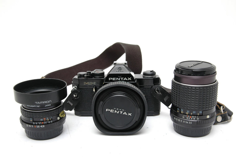 Used Asahi Pentax MX with 50mm f1.7 and 28mm f2.8 and 135mm f3.5