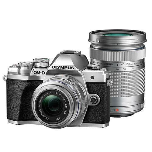 Olympus OM-D E-M10 Mark III with 14-42mm R and 40-150mm R Lenses - Silver