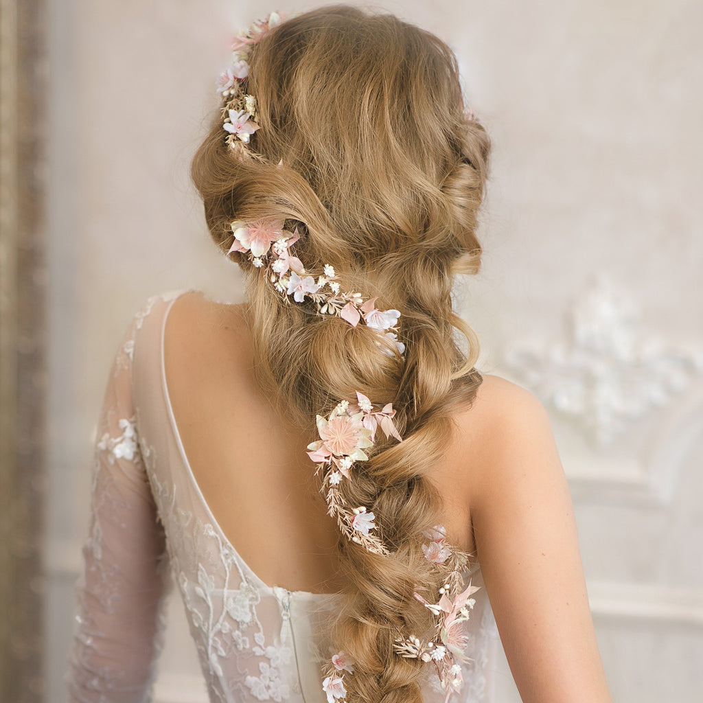 Blush wedding hair garland Bridal flower vine Ivory and pink flower headpiece Shapeable flower garland Flexible Bendable wreath Magaela