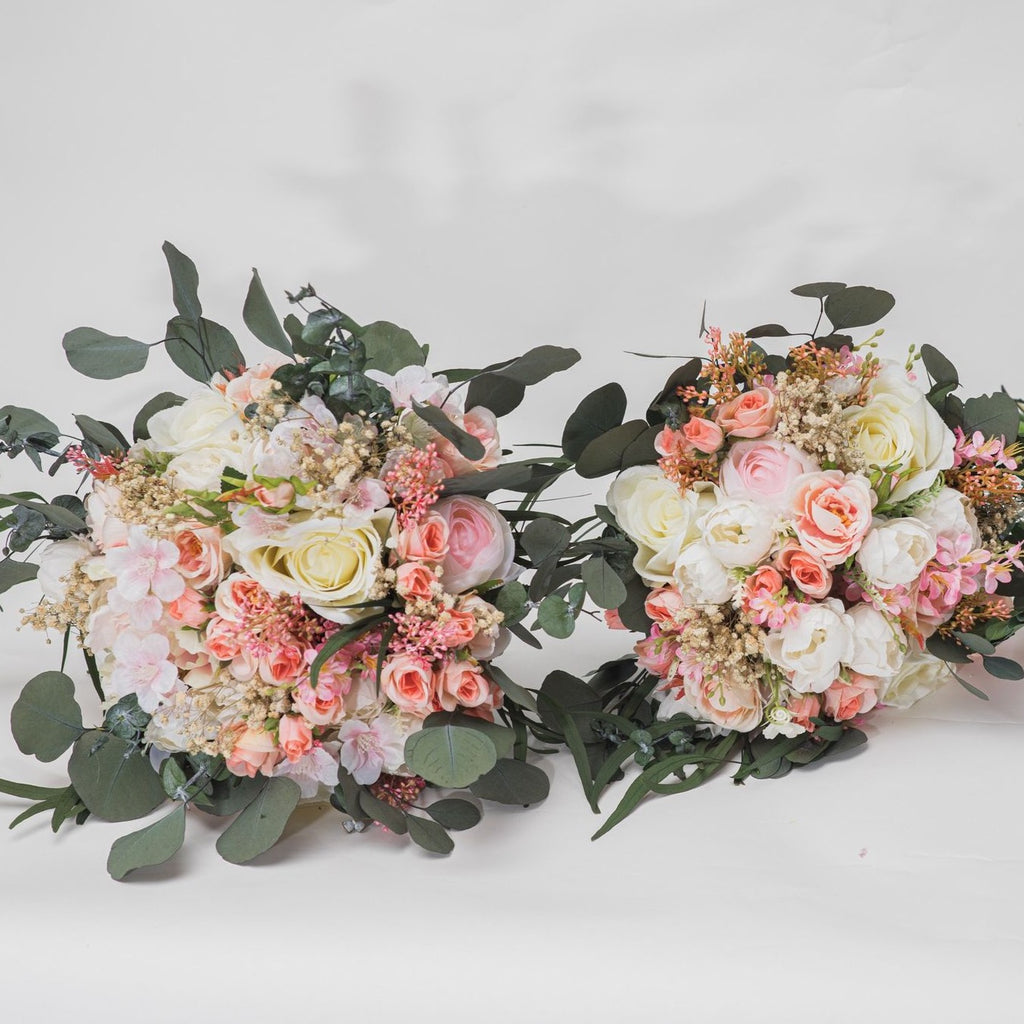 Romantic wedding bouquet 3 sizes available Bridesmaid bouquets Small bridal bouquet Pink Peach Ivory Eucalyptus Baby's breath bouquet Blush