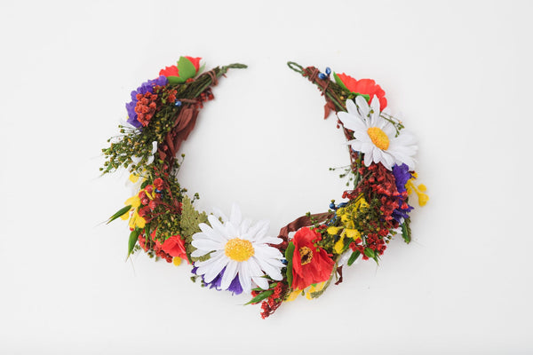 Folk flower half wreath Bridal flower crown 2021 wedding Meadow hair accessories Magaela handmade Wildflowers wedding Boho crown